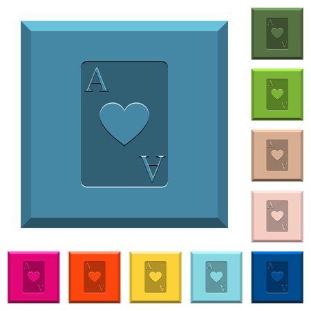 Ace of hearts card engraved icons on edged square buttons in various trendy colors Foto de archivo - 112229387