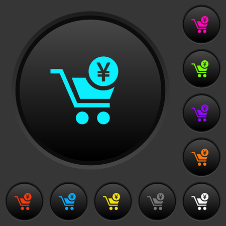 Checkout with Yen cart dark push buttons with vivid color icons on dark grey background Stock Illustratie