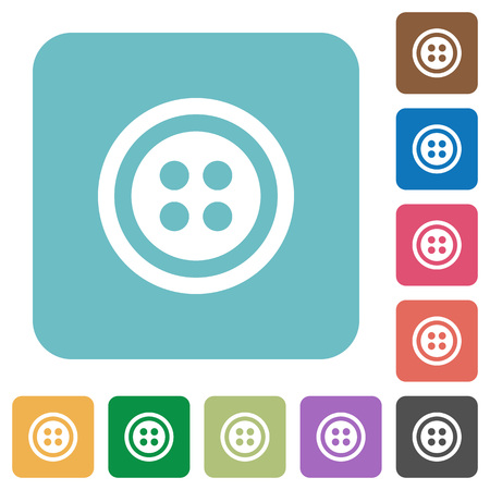 Dress button with 4 holes white flat icons on color rounded square backgrounds