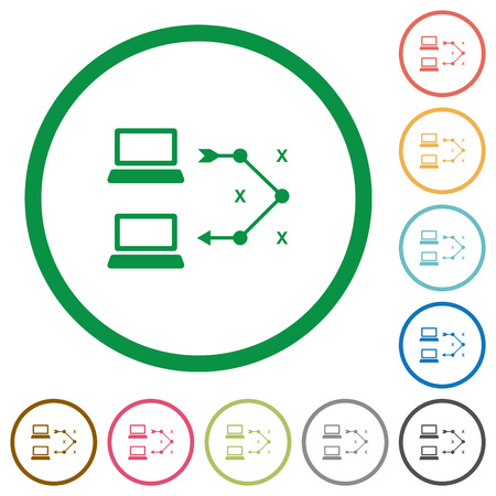 Traceroute remote computer flat color icons in round outlines on white background