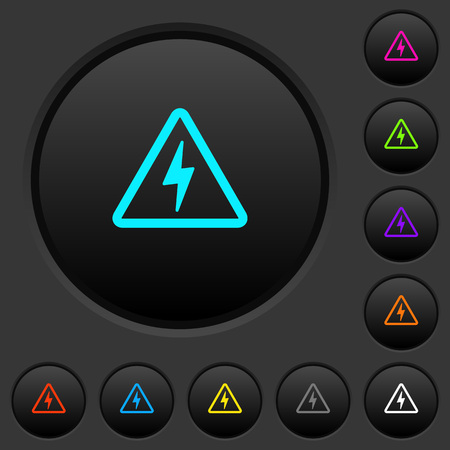 Danger electrical hazard dark push buttons with vivid color icons on dark grey background 向量圖像