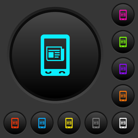 Mobile news dark push buttons with vivid color icons on dark grey background