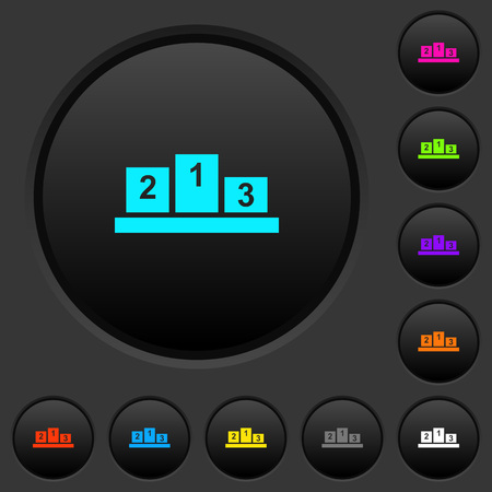 Winners podium with inside numbers dark push buttons with vivid color icons on dark grey background Ilustrace