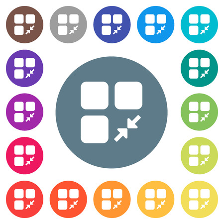 Reduce component flat white icons on round color backgrounds. 17 background color variations are included.