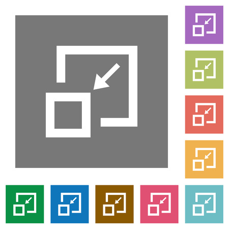 Shrink window flat icons on simple color square backgrounds 向量圖像