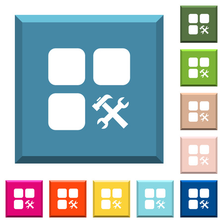 Component tools white icons on edged square buttons in various trendy colors
