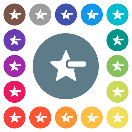Remove star flat white icons on round color backgrounds. 17 background color variations are included.