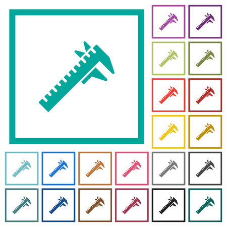 Caliper flat color icons with quadrant frames on white background