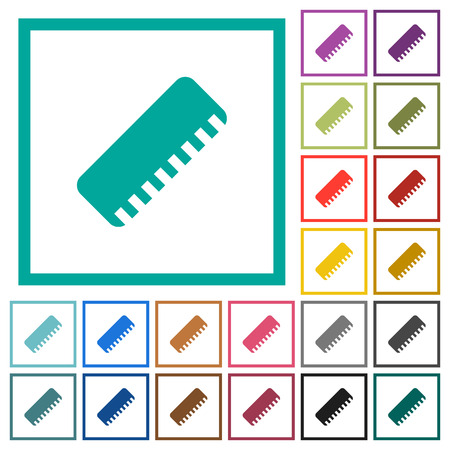 Ruler flat color icons with quadrant frames on white background Banque d'images - 106133302