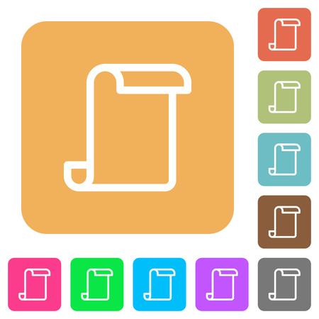 Blank paper scroll flat icons on rounded square vivid color backgrounds. Ilustração