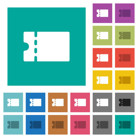Blank discount coupon multi colored flat icons on plain square backgrounds. Included white and darker icon variations for hover or active effects.