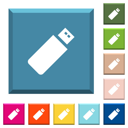 Pendrive white icons on edged square buttons in various trendy colors