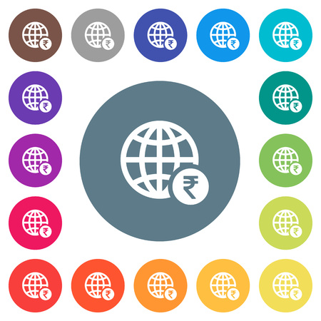 Online Rupee payment flat white icons on round color backgrounds. 17 background color variations are included.