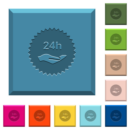 24h service sticker engraved icons on edged square buttons in various trendy colors