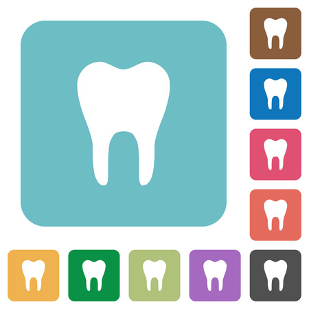 Single tooth white flat icons on color rounded square backgrounds