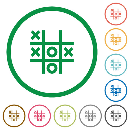 Tic tac toe game flat color icons in round outlines on white background