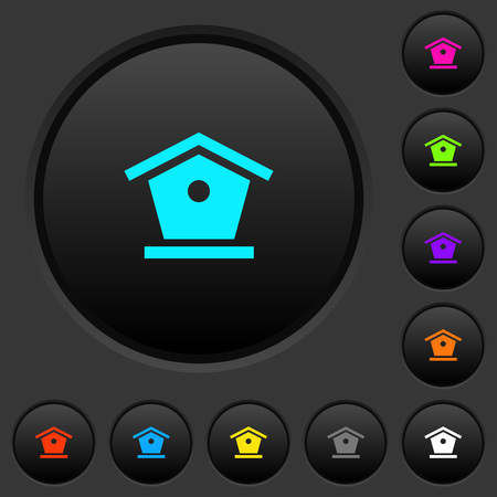 Bird feeder dark push buttons with vivid color icons on dark grey background