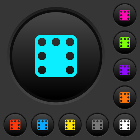 Domino seven dark push buttons with vivid color icons on dark grey background