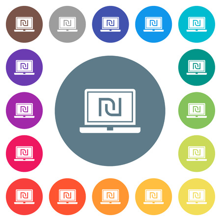 Laptop with new Shekel sign flat white icons on round color backgrounds. 17 background color variations are included.