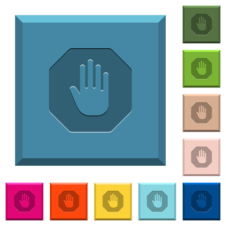 Achthoekig stopbord met gegraveerde pictogrammen op afgeronde vierkante knoppen in verschillende trendy kleuren