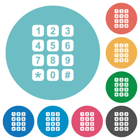 Numeric keypad flat white icons on round color backgrounds Illustration