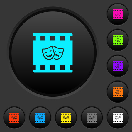 Theatrical movie dark push buttons with vivid color icons on dark grey background Illustration