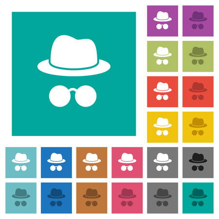 Incognito with glasses multi colored flat icons on plain square backgrounds. Included white and darker icon variations for hover or active effects.