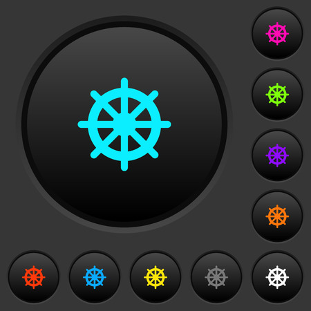 Steering wheel dark push buttons with vivid color icons on dark grey background Illustration