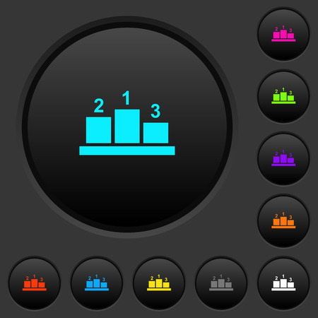 Winners podium with outside numbers dark push buttons with vivid color icons on dark grey background 向量圖像