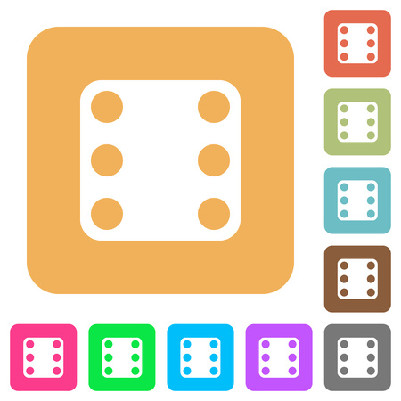 Domino six flat icons on rounded square vivid color backgrounds.