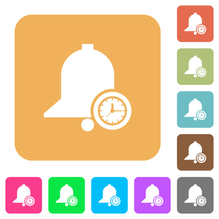 Reminder time flat icons on rounded square vivid color backgrounds.