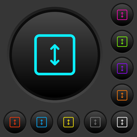 Adjust object height dark push buttons with vivid color icons on dark grey background Illustration