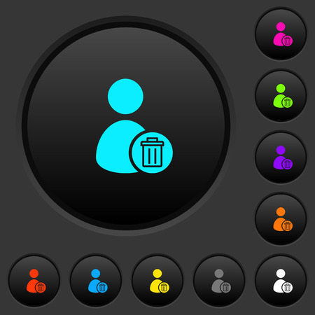 Delete user account dark push buttons with vivid color icons on dark grey background