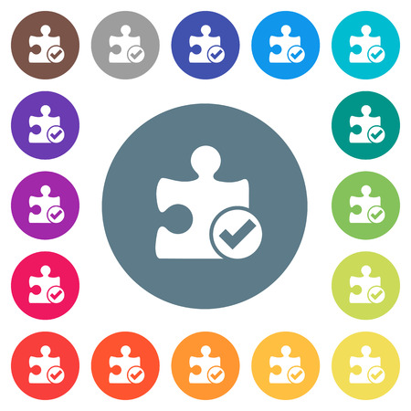 Plugin ok flat white icons on round color backgrounds. 17 background color variations are included.