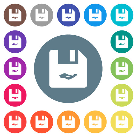 Share file flat white icons on round color backgrounds. 17 background color variations are included.
