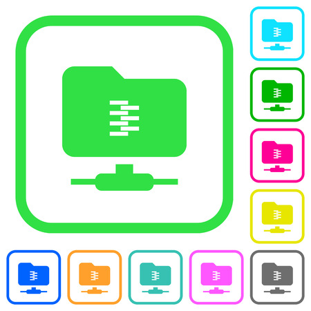FTP compression vivid colored flat icons in curved borders on white background