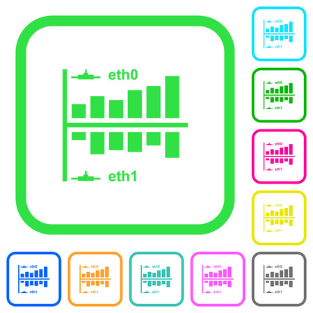 Network statistics vivid colored flat icons in curved borders on white background Illustration