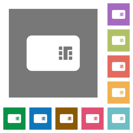Chip card flat icons on simple color square backgrounds