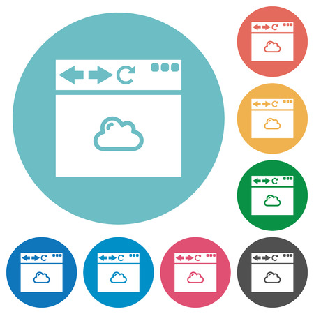 Browser cloud flat white icons on round color backgrounds Illustration