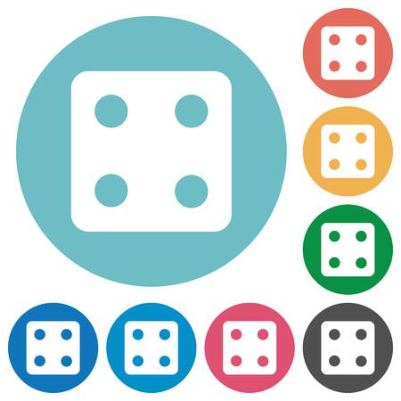 Würfeln Sie vier flache weiße Symbole auf runden Farbhintergründen