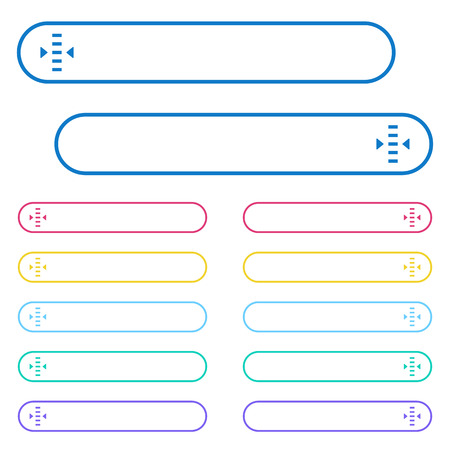 Adjust level icons in rounded color menu buttons. Left and right side icon variations. Ilustração