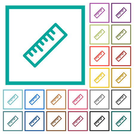 Ruler flat color icons with quadrant frames on white background Banque d'images - 112046204