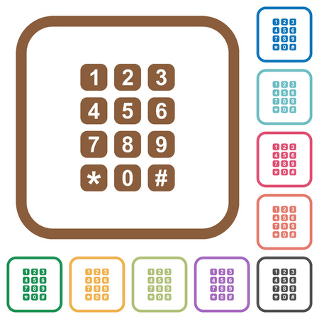 Numeric keypad simple icons in color rounded square frames on white background Illustration