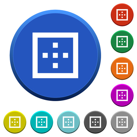 Outer borders round color beveled buttons with smooth surfaces and flat white icons
