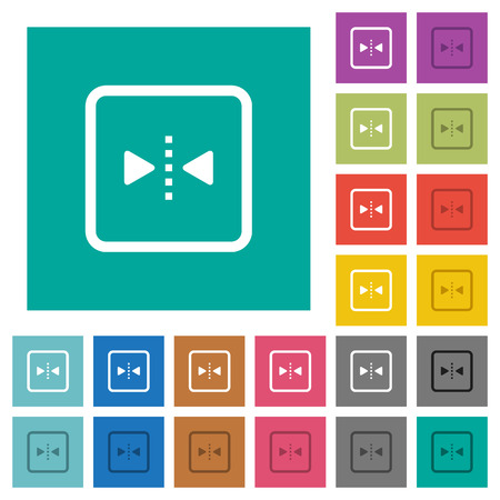 Mirror object around vertical axis multi colored flat icons on plain square backgrounds. Included white and darker icon variations for hover or active effects. Illustration