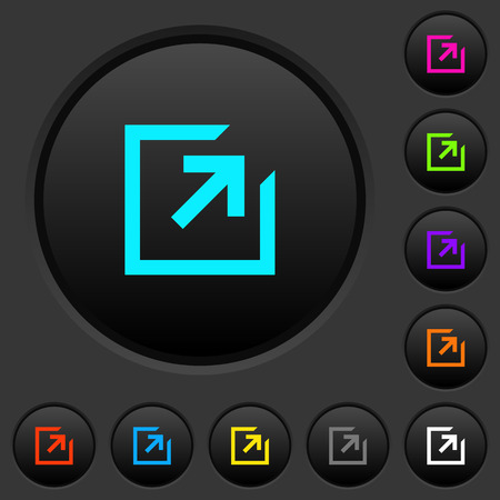 Export with inner arrow dark push buttons with vivid color icons on dark grey background