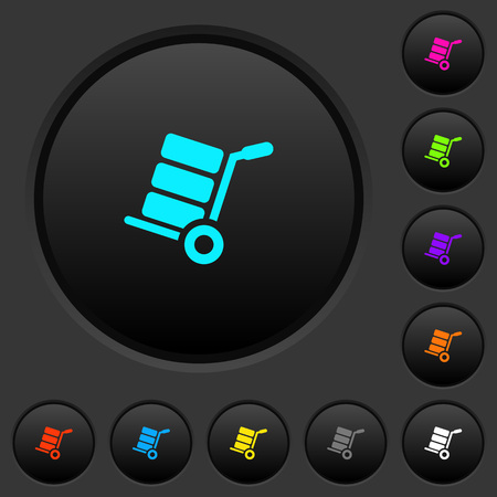 Hand truck with boxes dark push buttons with vivid color icons on dark grey background