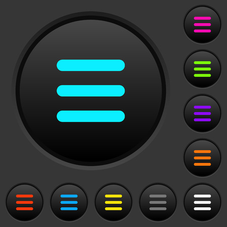 Menu dark push buttons with vivid color icons on dark grey background Illusztráció