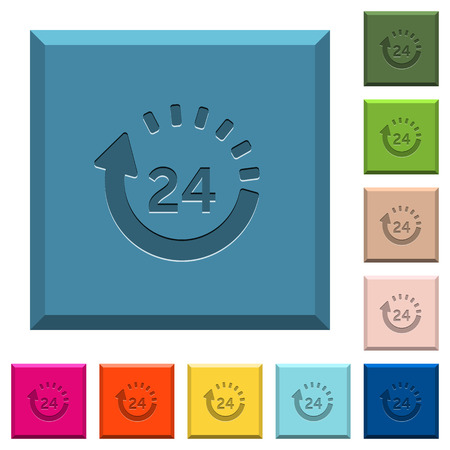 24 hour delivery engraved icons on edged square buttons in various trendy colors Illustration