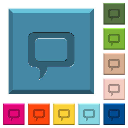 Empty comment bubble engraved icons on edged square buttons in various trendy colors